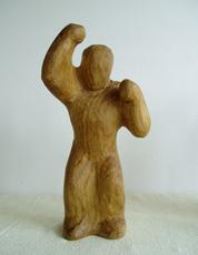Holzfigur Wut
